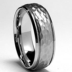 7MM Miligrained, Hammered Stainless Steel Ring Sizes 8 to 12