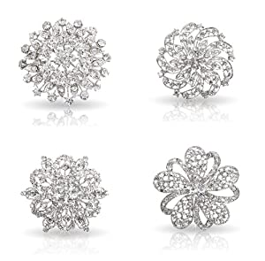 Bundle Monster Womens Fancy Vintage Clear Crystal Bling Bezel Flower Fashion Brooch Set - 1 (4pcs per set)