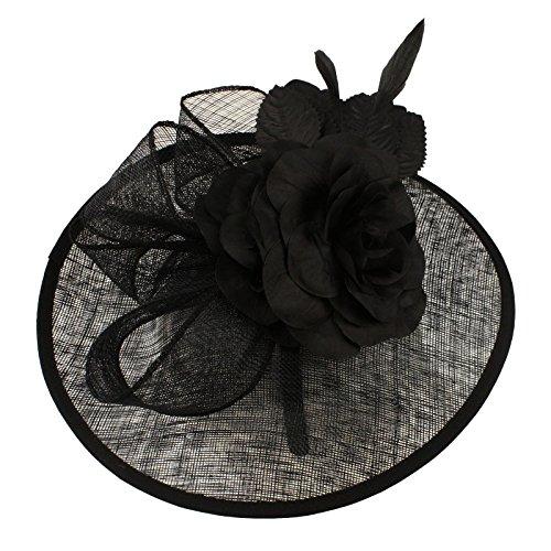 Fancy Sinamay Derby Floral Ribbon Headband Fascinator Millinery Church Black
