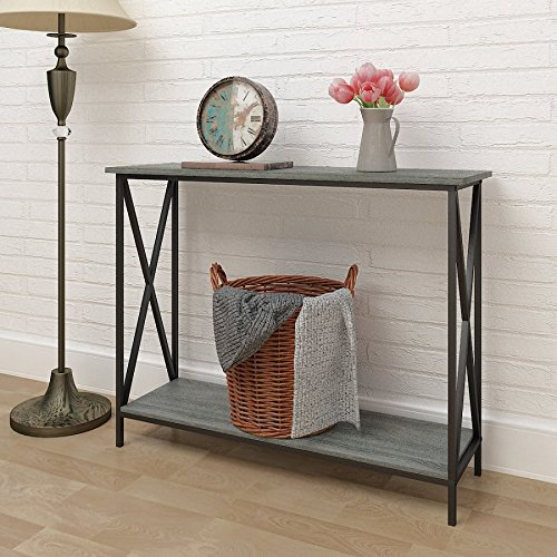 Weathered Grey Oak Finish 3-Tier Metal X-Design Occasional Console Sofa Table Bookshelf (Console Table With Metal compare prices)