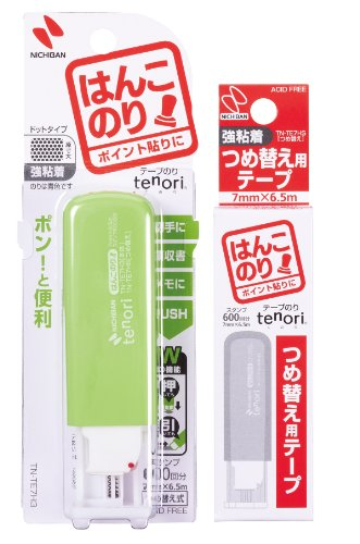 ニチバン tenori ハンコのり 強粘着タイプ 本体(グリーン)+替えお買い得パック TNTE7H3-AM