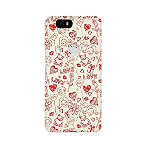 Rubix Customized Designer Hard Back Phone Case of Love, Kiss and Gifts for Nexus 6P