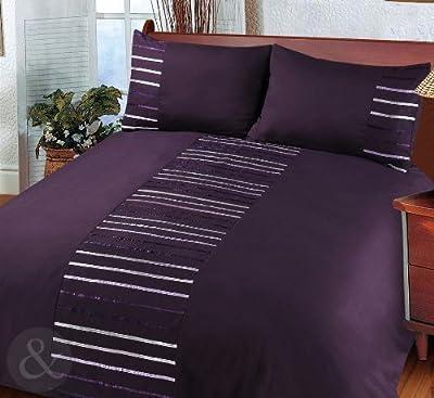 Modern Striped Duvet Cover Poly Cotton Bedding Quilt Cover Ribbon Satin Bed Set Parent Parent