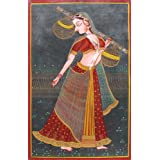 """Dolls Of India """"Ragini"""" Miniature Painting On Canvas - Unframed (76.20 X 50.16 Centimeters)"""