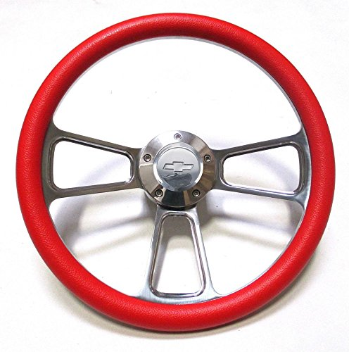 New World Motoring 1978-1980 Malibu Steering Wheel - Billet Aluminum, Red, Chevy Horn, Adapter (Steering Wheel Bowtie Malibu compare prices)