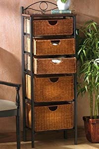 "Wicker Five drawer Storage Unit, 52""Hx18""Wx13""D, BLACK BROWN"
