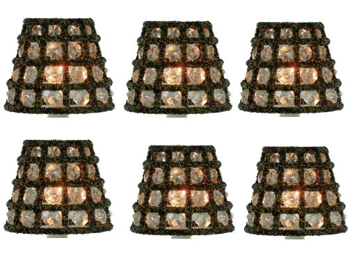 Set of six crystal chandelier lamp shade mini clip on shade candle will turn a plain light fixture into a center piece each shade has forty four faceted crystals and the frame wrapped with beautiful beads aloadofball