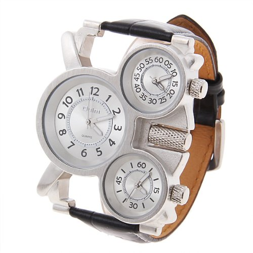 "67 ¡°Mickey Head + Ear "" Compasses Shape Classic Men Big Dial White Wrist Watch On Sale Gift"