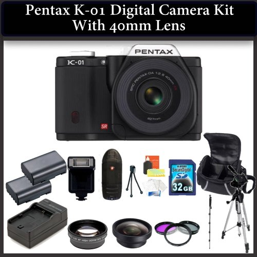 Pentax K-01 Digital Camera Kit. Package Includes: Pentax K-01 with 40mm Lens(Black), 0.45X Wide Angle Lens, 2X Telephoto Lens, 3 Piece Filter Kit(UV-CPL-FLD), 32GB Memory CArd, 2 Extended Life Replacement Batteries and More..!
