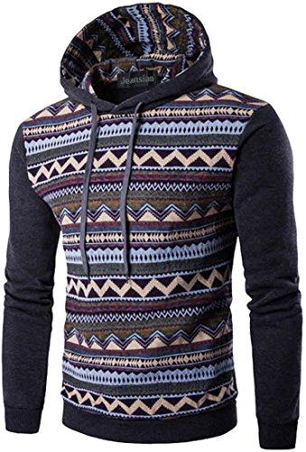 jeansian Uomo Moda Ethnic Stile Con Cappuccio Pullover Casuale Felpe Maglione Sport Tops 88F6 DarkGray XS