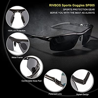RIVBOS® Polarized Sports Sunglasses Driving Glasses Metal Frame with Mirror Lens Pouch Cloth Case for Golf Driving Night Version Lens in Options Sp005