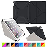 roocase iPad Air 2 Case - Origami 3D iPad Air 2 2014 Slim Shell Case Smart Cover with Sleep / Wake [Features Landscape, Portrait, Typing Stand] for Apple iPad Air 2 (2014) 6th Generation Latest Model, Granite Black / Cool Gray