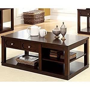 Metro shop furniture of america desiree brown for Coffee tables amazon