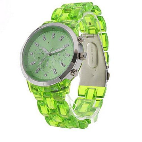 Crystal clear Fresh Fashionable Quartz Wrist Watch with Green Plastic Band