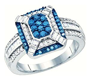 Pricegems 10K White Gold Ladies Blue and White Natural Round Brilliant Diamond Right Hand Fashion Ring (Blue and White Natural Diamonds: 0.82 cttw, I1/I2 Clarity, Ring Size: 6.75)