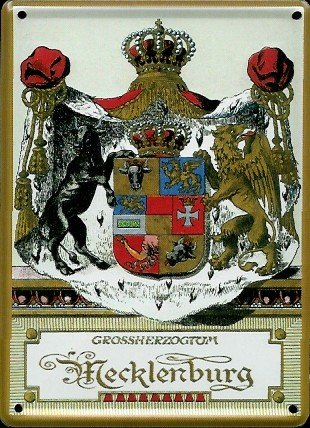 Granducato Mecklenburg Mini-Targa latta Post Card - 8 x 11 cm Nostalgia Retro scudo Metal tin sign