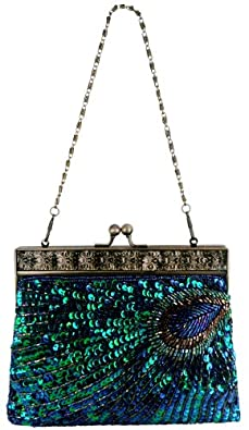 MG Collection Blue Antique Beaded Sequin Peacock Clutch Evening Handbag / Purse