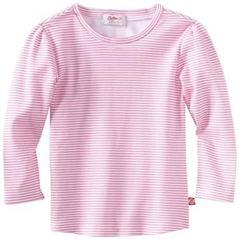 Zutano Little Girls' Candy Stripe Long Sleeve Fitted Tee, Hot Pink, 2T
