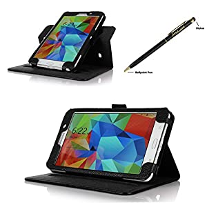 ProCase Samsung Galaxy Tab 4 7.0 Dual View Case (horizontal and vertical display) - Rotating Stand Folio Cover Case for 7 inch Galaxy Tab 4 (2014 released) with Corner Protected, and bonus Stylus Pen (Black) by ProCase