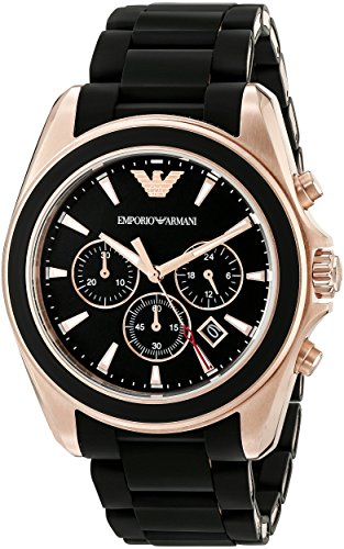 Emporio Armani Men's AR6066 Sportivo Rose Gold-Tone Stainless Steel Watch with Black Rubber Band (Emporio Armani Black Dial compare prices)