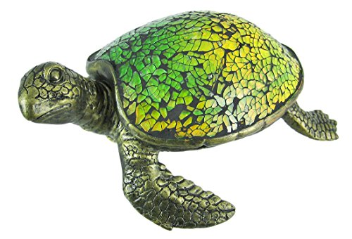 Cute Mosaic Green Glass Sea Turtle Accent Lamp
