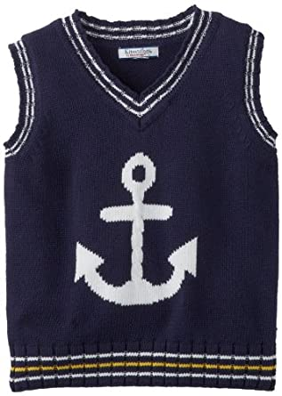 Kitestrings Little Boys' Little Anchor Cotton V-Neck Sweater Vest, Peacoat Navy, 5/6