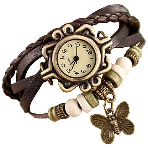 Xeno Analog Butterfly Vintage Brown and Off-White Dial Women\'s Watch (Free Gift by ZYDAP Inside)
