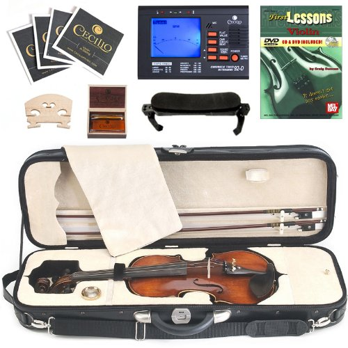 Cecilio 4/4 Cvn-600 Hand Oil Rubbed Highly Flamed 1-Piece Professional Solid Wood Violin