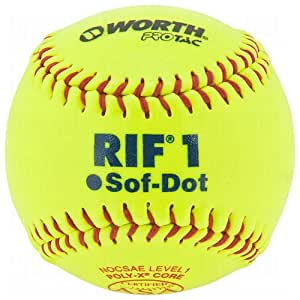 Worth 10-Inch SR10RYSA Soft Center Protac Cover NOCSAE ASA Stamped Optic Yellow Fastpitch Softball(Dozen)