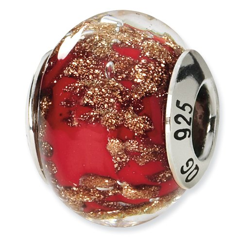 Red and Gold Murano Glass and .925 Sterling Silver Bead