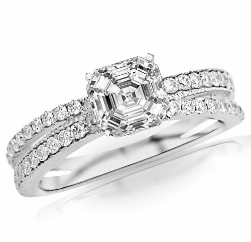 Cheapest 1.32 Carat Asscher Cut / Shape GIA Certified 14K White Gold Twisting Split Shank Pave Set Diamonds Engagement Ring ( G Color , VS1 Clarity )