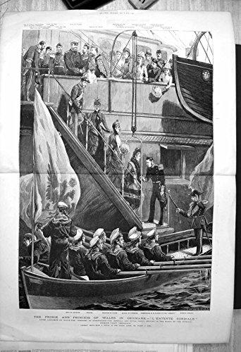 old-original-antique-victorian-print-prince-princess-wales-denmark-barge-russian-yacht-dershava-1885