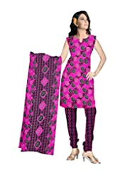 Sonal Trendz Pink & Black Color Leon Printed Art Silk Dress Material.Party Wear Festive Wear.
