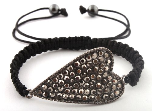Black Lace Style Iced Out Heart Bracelet with Beaded Disco Balls Macrame Shamballah