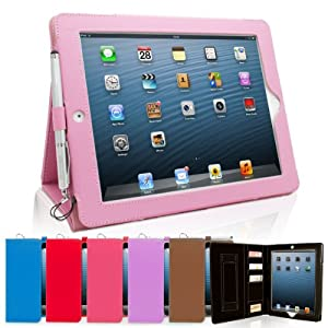 Snugg iPad 3 & 4 Case - Executive Smart Cover With Card Slots & Lifetime Guarantee (Candy Pink Leather) for Apple iPad 3 & 4