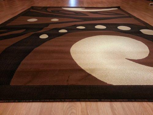 E524 Contemporary Modern Transitional Brown Black 5x8 Actual Size 5'3x7'2 Rug