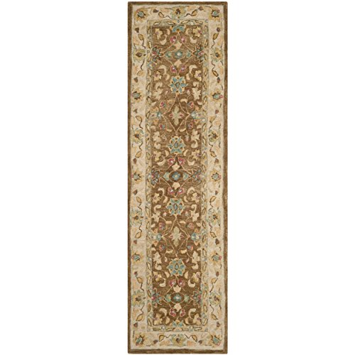 Safavieh Anatolia Collection AN580F Handmade Brown and Ivory Wool Runner, 2 feet 3 inches by 8 feet (2'3