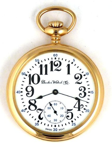 DBRM7 New Dueber Watch Co Gold Plated Pocket Watch Mechanical Wind 17 Jewels