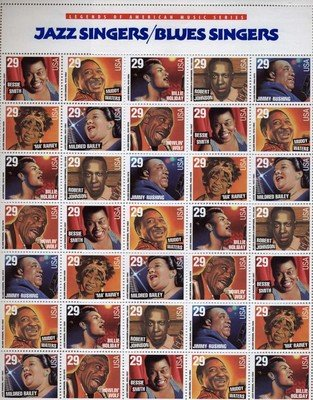 Blues & Jazz Artist full sheet of 35 x 29 cent US postage stamp #2854-61