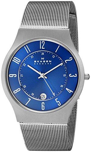 Skagen - Montre Homme - 233XLTTN - Bracelet Maille Acier Inoxydable Argent - Cadran Bleu