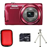 Fujifilm FinePix T500 - Red + Case + 8GB Card + Tripod (16MP, 12x Zoom) 2.7 inch LCD