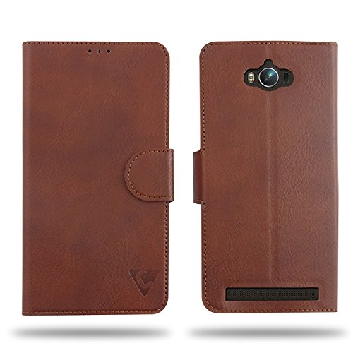 Cool Mango Compact Flip Cover for Asus Zenfone Max - 100% Premium Faux Leather Flip Case for Asus Zenfone Max ZC550KL with 360 Degree Stitching, Magnetic Lock, Card Currency Slot (Mocha Brown)