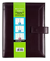 Day-Timer Framed Slim Leather Starter Set, Undated, 7 Ring, Desk Size, 5.5 x 8.5 Inches, Black or Burgundy - Color May Vary (45090)