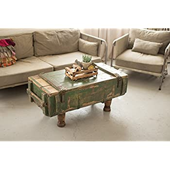 KALALOU NKK1175 ANTIQUE ARMY BOX COFFEE TABLE WITH TURNED WOOD LEGS