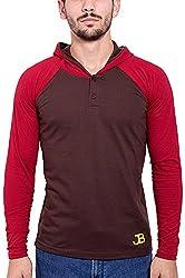 Jangoboy Men's Regular Fit Sweatshirt (F4U-37_L, Brown And Maroon, L)