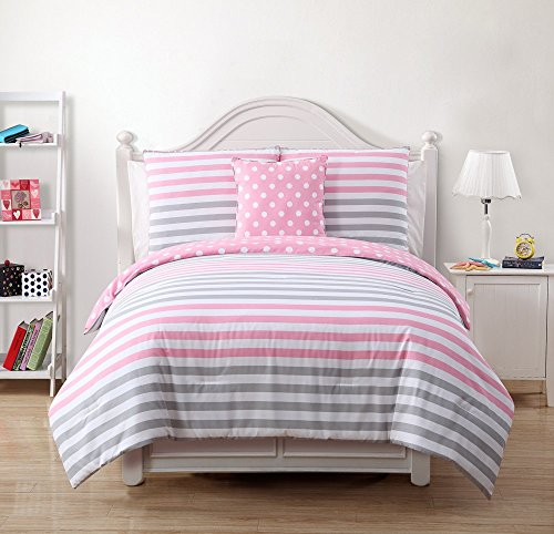 Reversible Kids Girls Teen Pink Gray Polka Dots and Stripes Twin or Full Size Comforter Bedding Set (Twin)