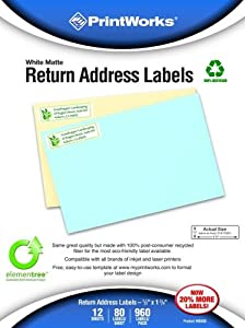 Printworks Elementree White Matte Return Address Labels for Inkjet or Laser Printers or Copiers, 100% Recycled, 12 Sheets/Pack,.5 inch x 1.75 inch, 00488
