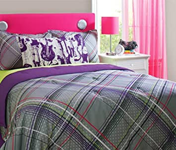 Gray & Purple Plaid Guitar Rockstar Full / Queen Comforter Set