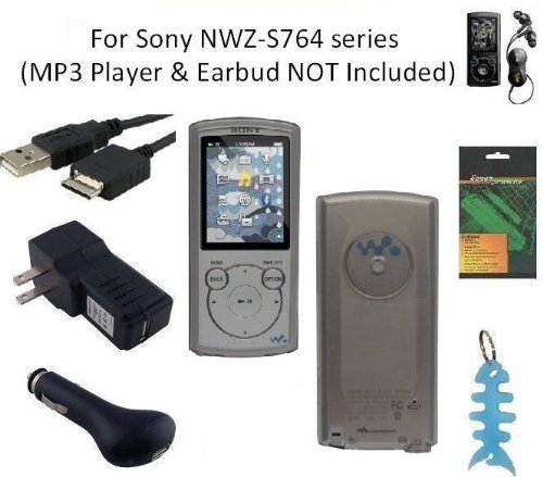 6 Items Accessories Bundle Kit For Sony Walkman Nwz-S764 Mp3 Player: Includes (Smoke) Soft Gel Thermoplastic Polyurethane Tpu Skin Case Cover, Lcd Screen Protector, Usb Wall Charger, Usb Car Charger, 2In1 Usb Cable And Light Blue Fishbone Style Keychain