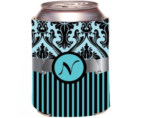 "Rikki Knight Beer Can Soda Drinks Cooler Koozie, Letter ""N"" Initial Monogrammed Design, Damask And Stripes, Sky Blue front-643659"